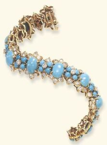 Turquoise Cabochon Bracelet 925 Sterling Silver 14k Gold Plated Diamond Jewelry