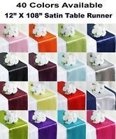 """10 Satin Table Runners for Wedding Party Chair Sashes Table Decoration 12""""x108"""""""
