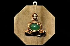 14k Yellow Gold and Green Jade 3D Buddha Pendant/Charm Hand Cast and Fabricated