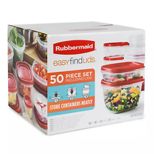 Rubbermaid 50 piece Easy Find Food Plastic Storage Containers Set Snapon Lids