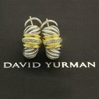David Yurman Thoroughbred Cable Shrimp Earrings Sterling Silver 18K Gold Diamond