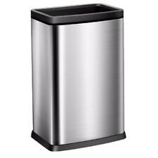 10 Gallon / 40 Liter Brushed Stainless Steel Open Top Trash Can Removable Bucket