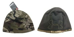 Under Armour Camo Reversible Fleece Beanie 2.0 Mens 1300468 999 Barren/ Black