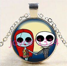 Nightmare Before Christmas Cabochon silver Glass Chain Pendant Necklace #5952