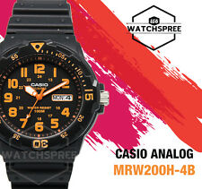 Casio Mens Watch 100m Date Day Display Analog Quartz Black Resin Mrw-200h-4b