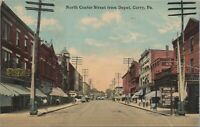 PA Corry North Center Street from Depot Vintage Postcard, F.M Kirby& Co