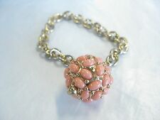 Vintage Kenneth Lane Goldtone  Toggle Bracelet, Coral encrusted Ball Charm
