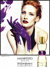 PUBLICITE ADVERTISING 2012 YVES SAINT LAURENT MANIFESTO Jessica CHASTAIN