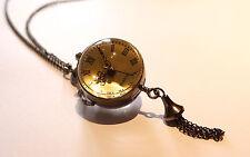 Reloj De Bolsillo Vintage Reloj Collar de bolas de Borla-Bronce Antiguo Joyas-Globe
