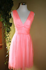 $228 J.Crew Lynette Dress Dress 0 Neon Coral Pink Bridesmaid Cocktail NWT
