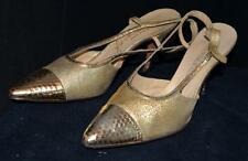 French Room Originals Chandlers Gold Metallic Swing Back High Heels Size 8.5 AA