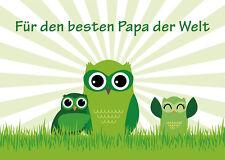 2 Postkarten Eulen Vatertag beste Papa der Welt Grußkarte owl Vater Vati Eule