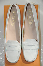 New TOD'S Flats Melanie Mocassins Driving Flat Shoes White Patent Leather 39.5
