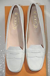 Neuf Tod's Mocassin Melanie Conduite Chaussures Plates Blanc Verni Cuir 39.5