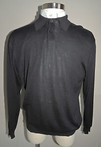 MENS STATEMENTS BLACK SILK BLEND 2 BUTTON COLLAR SWEATER SIZE LGE