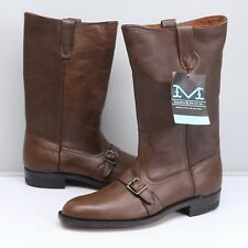 VTG Blue Bell Maverick Mens Engineer Boots 10 D Brown Leather Buckle Deadstock