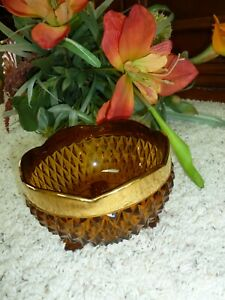 """Antique Vintage Amber Glass Diamond Point Footed Compote Candy Dish by Tiara 5"""""""