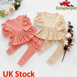 Toddler Baby Girls Kids Clothes Ruffle Ribbed Long Sleeve Tops+Pants Set Outfits