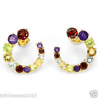 Natural GEM AMETHYST GARNET PERIDOT CITRINE TOPAZ 925 Sterling Silver Earrings