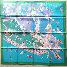 Auth Hermes Silk Scarf 90cm Battery Park Vert Turquoise Rose NEW