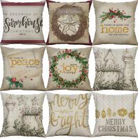 "18"" Cotton Line Christmas Print Home Decor Printing Cushion Cover pillow case"