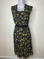 Whistles Black Floral Print Sleeveless Tie Belt Dress Formal UK size 10