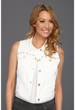 NWT DKNY Denim White Cropped Studded Vest Jacket Top PS $90