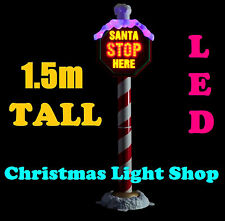 1.5m SANTA STOP HERE Pole PVC Flashing LED Lights Outdoor Christmas Display NEW