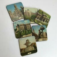 Vintage 6 Wood Coasters Madrid Spain Architecture Scenes Palacio Real Les Cibele