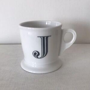 ANTHROPOLOGIE INITIAL J LARGE WHITE AND BLACK TANKARD SHAPED COFFEE MUG  NEW