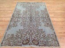 """6' 7""""x 4'  Vintage   PALE SKY light  BLUE color reform    Overdyed rug carpet"""