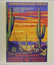 Saguaro National Park Service Vintage Federal Art WPA Style Travel Poster