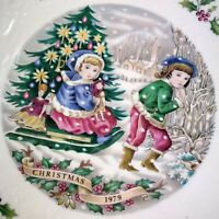 "Vintage Royal Doulton Christmas 8"" Plate 1979 Tableware Holly Embossed Snow Kids"