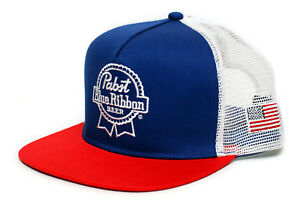 Pabst Blue Ribbon PBR Flat Bill Embroidered Cap Hat Trucker Royal Red