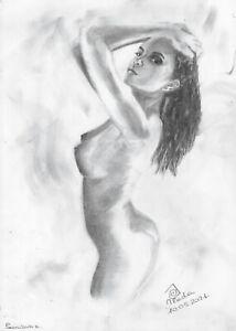 original drawing A3 171PV art samovar modern Graphite female nude Signed 2021