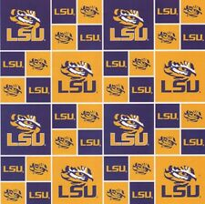 LSU Patchwork Print-Purple & Gold-Sykel Enterprises-Fat Quarter