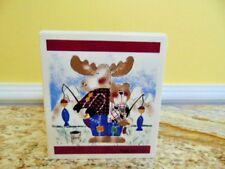 "Ellen Crimi-Trent Tissue Cover Box ""The Great Outdoors"" Fishing Moose Bear"