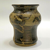 """Natural Colored Thrown Pottery Vase Flower Pot 5.5""""tall Glazed Marked Lovely"""