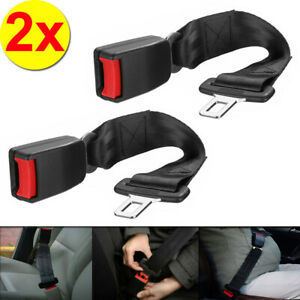 2x 36CM Black Universal Car Safety Seat Belt Extender Extension Buckle Lock Clip