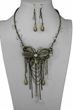 Women Long Fashion Necklace Big Butterfly Charm Beads Pendant Dangle + Earring