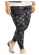 6b9184c67114c Faded Glory Plus Size Leggings 1X Womens SOFTBRUSH Geometric Footless NWT