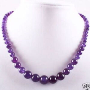 natural genuine amethyst beads necklace 17''
