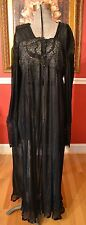 Ritratti Italy VTG Black Crystal Accordion Pleat Robe Nightgown w/ Lace Sz Med