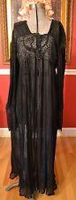 Ritratti Italy VTG Black Crystal Accordion Pleat Robe Nightgown w/ Lace Sz M