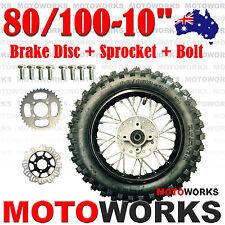"80/100 -10"" Inch Rear Back Wheel + Sprocket + Disc Bolt Dirt Pit PRO Trail Bike"