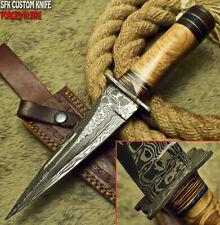 Sfk Cutlery Rare Custom Handmade Damascus Art Hunting Dagger Knife Olive Wood