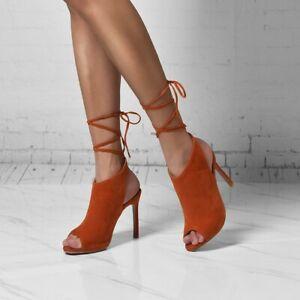 Fashion Women High Heels Peep Toe Sandal Ankle Strappy Stiletto Shoes Plus Size