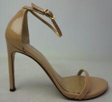 Stuart Weitzman Nudistsong Ankle Strap Adobe Aniline Patent Heel Sandal Size 8.5