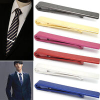 Mens 4CM Stainless Steel Silver Tone Simple Necktie Tie Bar Clasp Clip Clamp 4R0