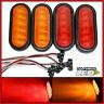 """(4) 6"""" Oval 2 Red & 2 Amber LED Stop/Turn/Tail Light grommet trailer truck Fleet"""